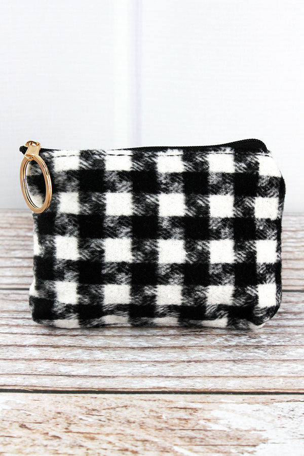 Black and White Houndstooth Coin Purse