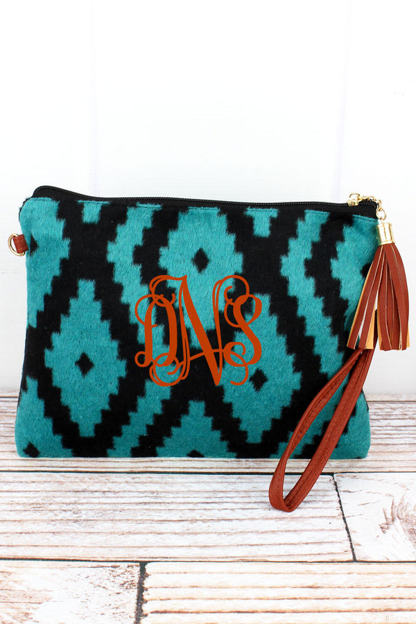 Turquoise and Black Winter Ikat Tassel Crossbody Clutch