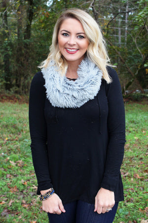 Fur It's Cold Outside Infinity Scarf, Black
