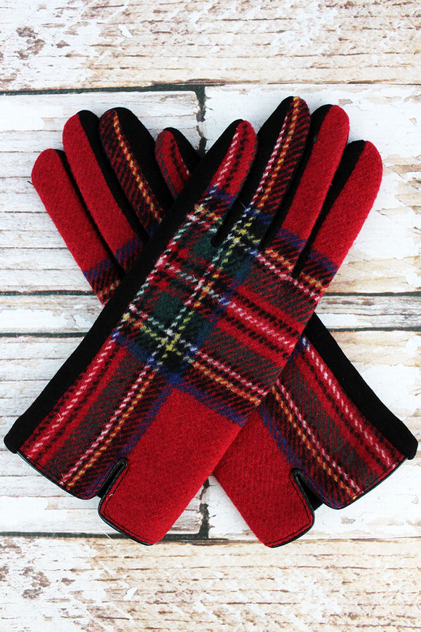 One Pair Timeless Tartan Smart Touch Gloves, Red