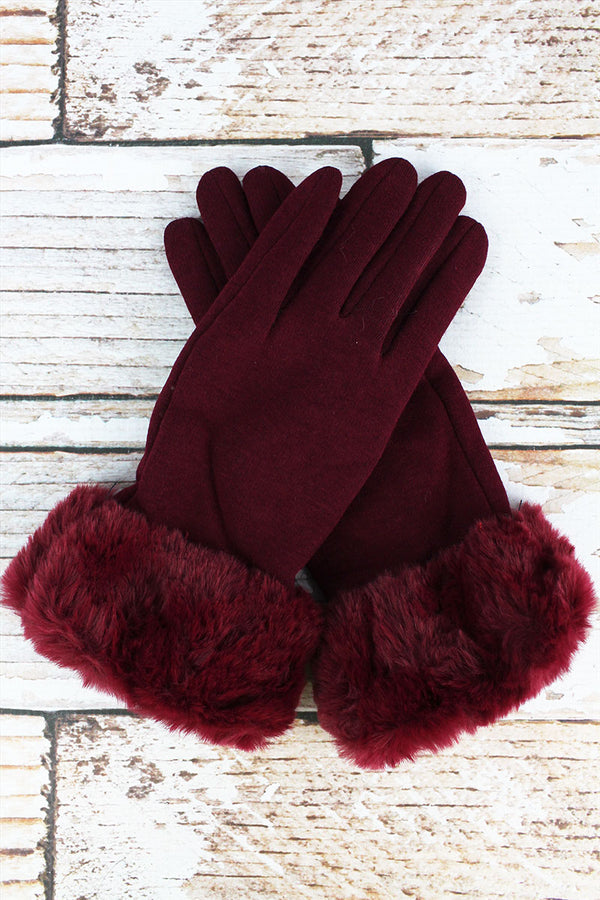One Pair Cold Snap Faux Fur Trim Smart Touch Gloves, Burgundy