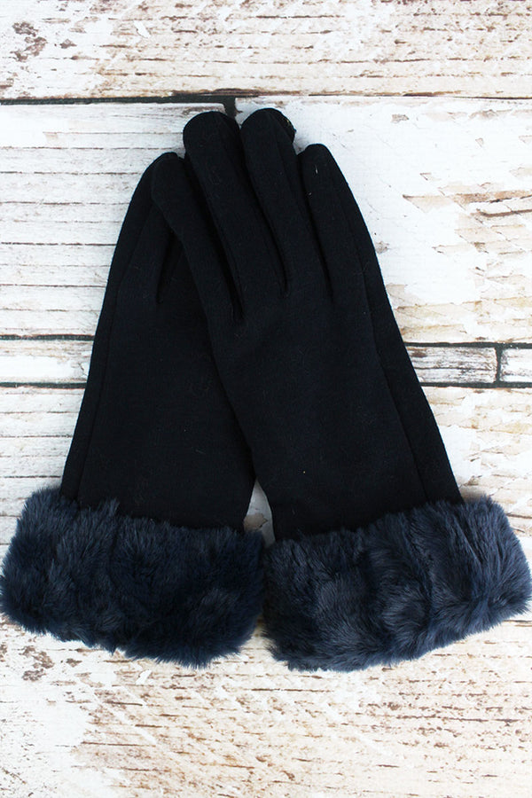 One Pair Cold Snap Faux Fur Trim Smart Touch Gloves, Navy