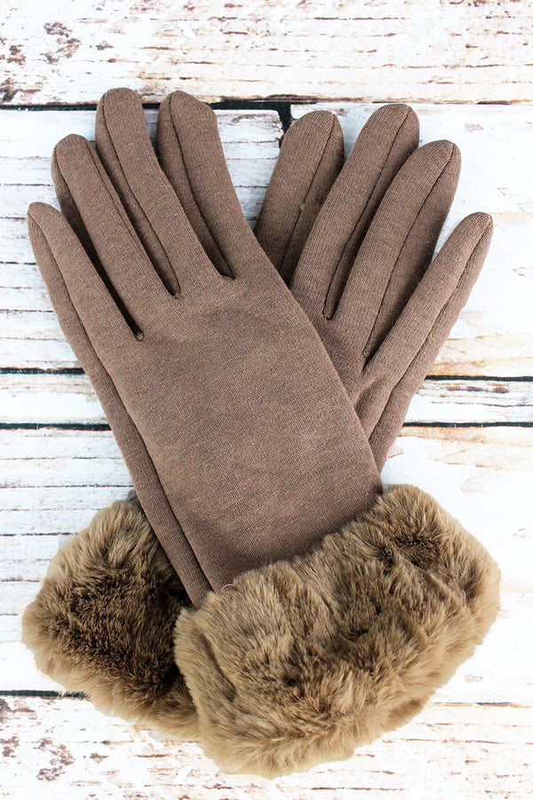 One Pair Cold Snap Faux Fur Trim Smart Touch Gloves, Taupe