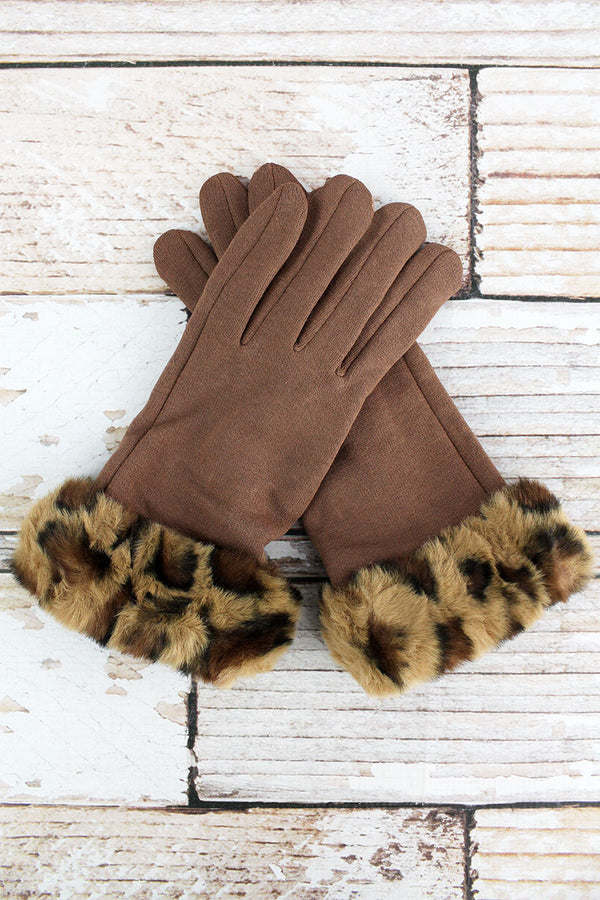 One Pair Wild Winter Trim Smart Touch Gloves, Taupe
