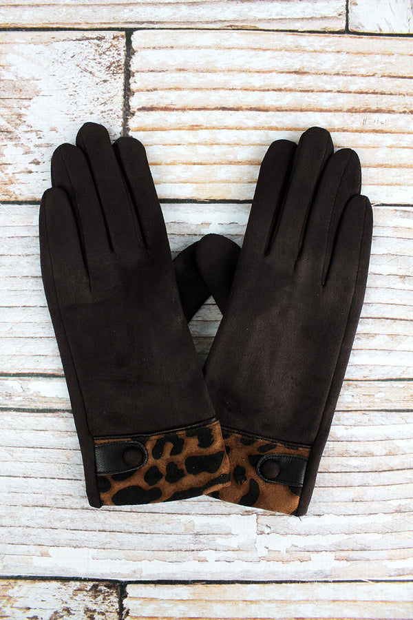 One Pair Luxe Leopard Smart Touch Gloves, Brown