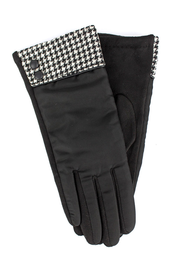 One Pair Houndstooth Cuff Smart Touch Gloves, Black