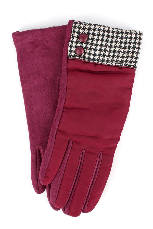 One Pair Houndstooth Cuff Smart Touch Gloves, Burgundy