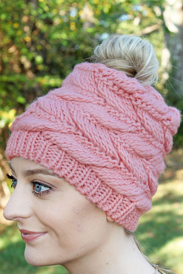 Think Warm Thoughts Messy Bun Beanie, Pink