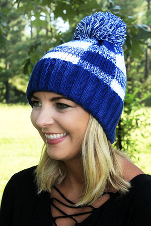Game Day Vibes Pom Pom Beanie, Blue and White