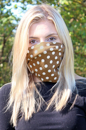 Beige Polka Dot Double Layer Twisted Neck Gaiter