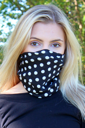 Black Polka Dot Double Layer Twisted Neck Gaiter