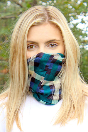 Green Checkerboard Double Layer Twisted Neck Gaiter