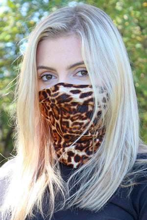 Brown Leopard Double Layer Twisted Neck Gaiter