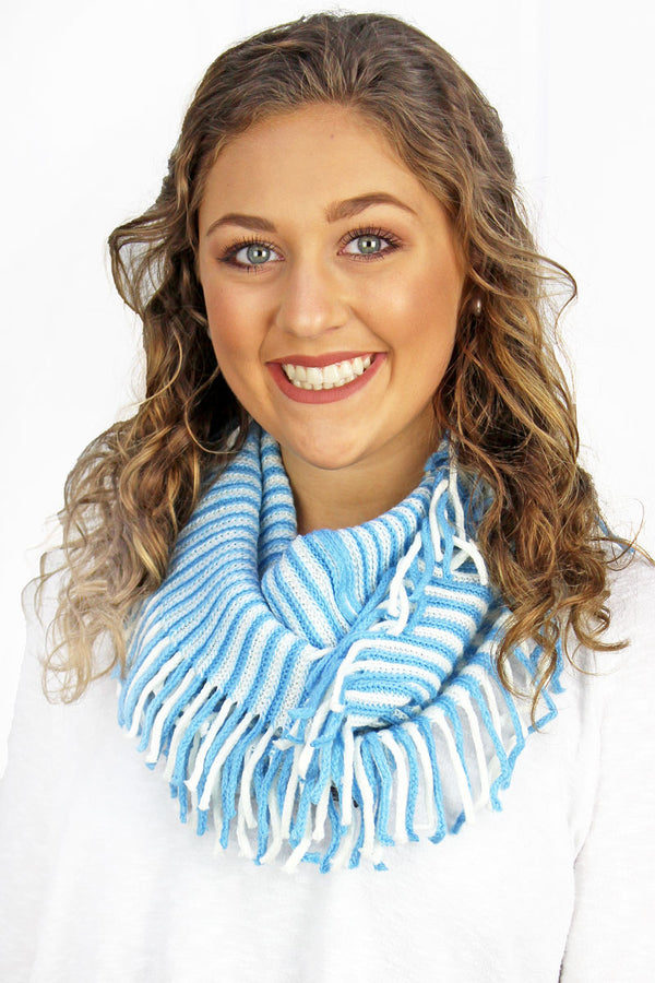 Light Blue and White Game Day Stripes Infinity Scarf