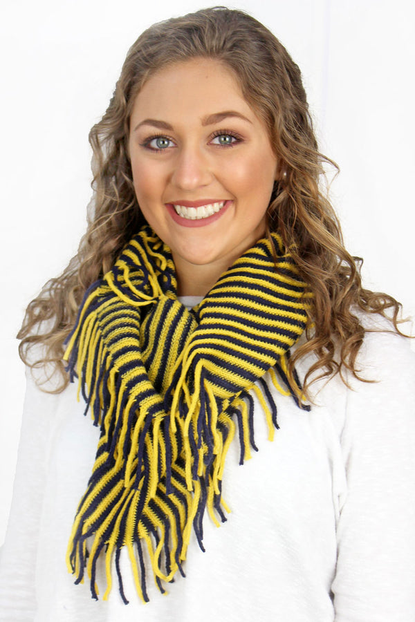 Navy and Yellow Game Day Stripes Infinity Scarf
