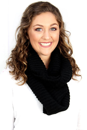 Feel The Chill Cowl Neck Infinity Scarf, Black