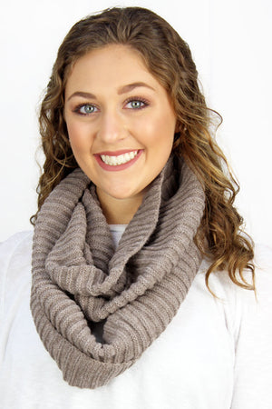 Feel The Chill Cowl Neck Infinity Scarf, Taupe