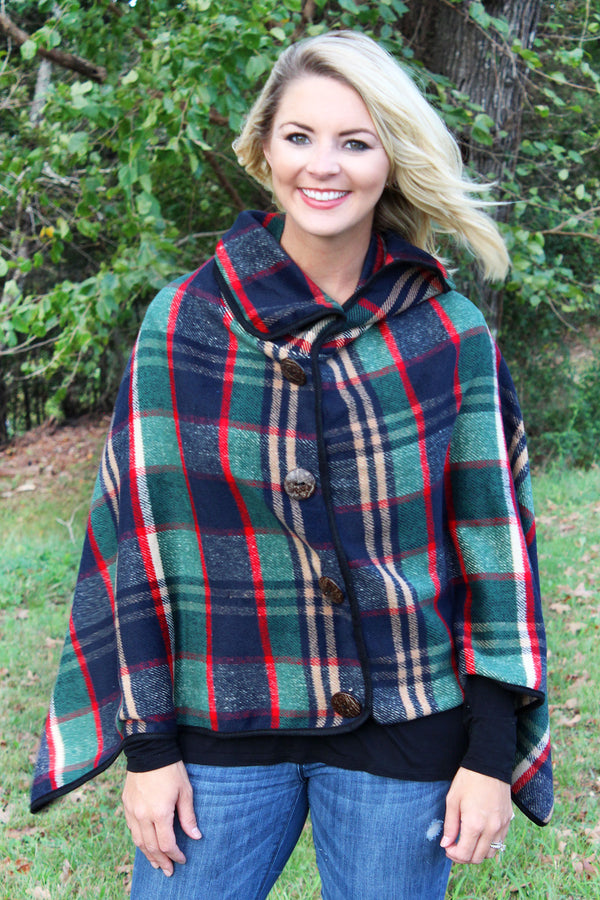 On The Button Plaid Poncho, Navy