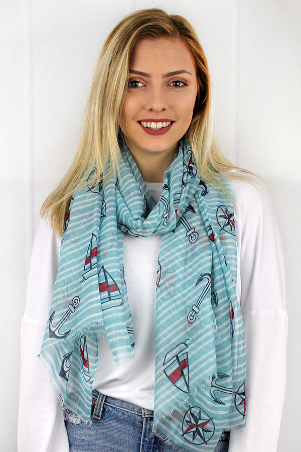 Anchors Aweigh Scarf, Light Blue