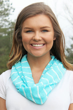 Pacific Coast Stripe Infinity Scarf, Turquoise