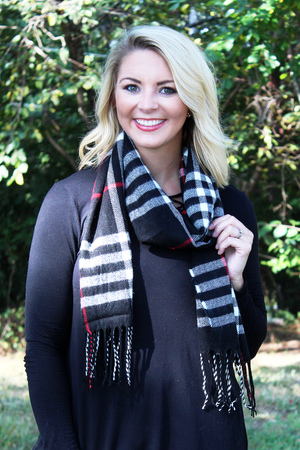 Fringed Fall Tartan Long Scarf, Black
