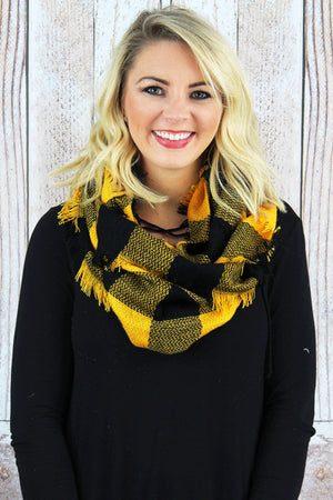 Game Day Vibes Infinity Scarf, Black and Gold