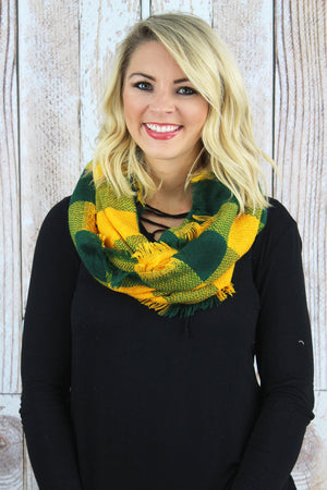 Game Day Vibes Infinity Scarf, Green and Gold