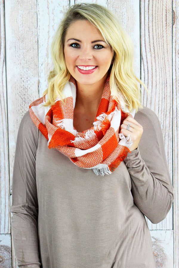 Game Day Vibes Infinity Scarf, Orange and White
