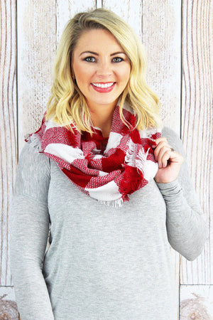 Game Day Vibes Infinity Scarf, Red and White