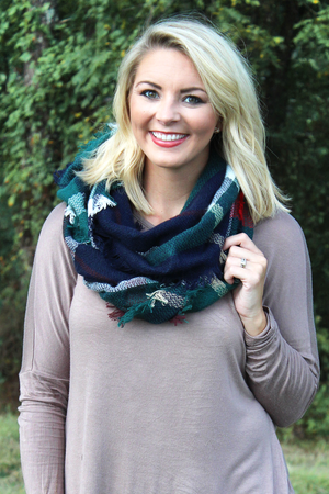 Fall Foliage Infinity Scarf, Green