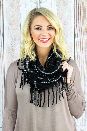 Winter Wishes Infinity Scarf, Black
