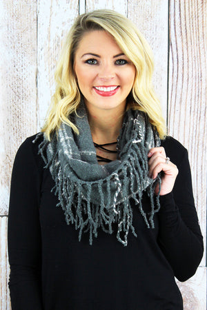 Winter Wishes Infinity Scarf, Dark Gray