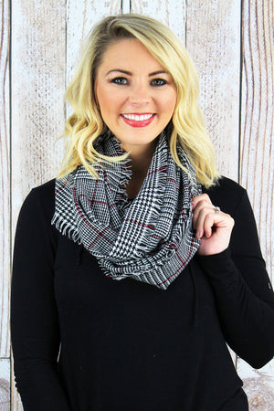 Glen Check Infinity Scarf, Black