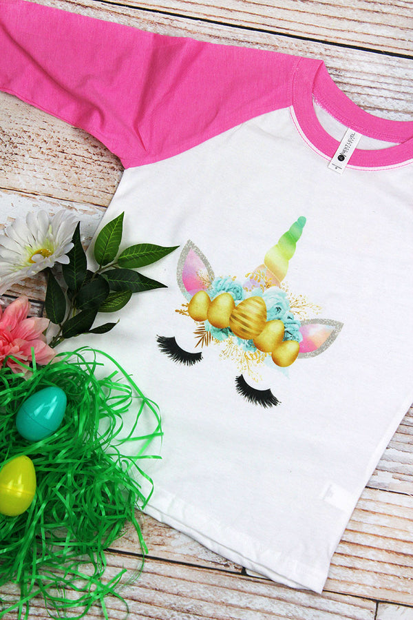 Easter Rainbow Unicorn Youth 3/4 Sleeve Raglan