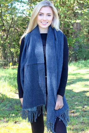 Moonlight Ridge Blanket Scarf, Navy