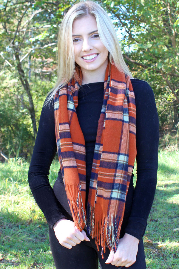 Pumpkin Pie Plaid Blanket Scarf, Orange