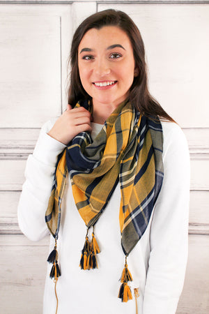 Navy and Yellow Game Day Plaid Square Scarf