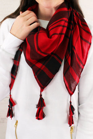 Red and Black Game Day Plaid Square Scarf #EBSC5043-RDBK