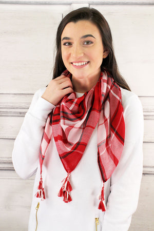 Red and White Game Day Plaid Square Scarf