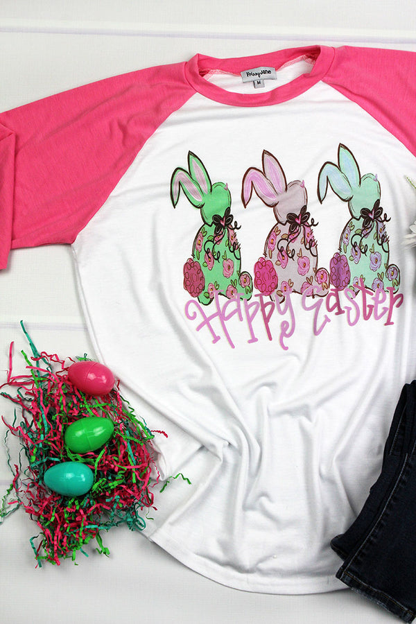 3 Bunnies Happy Easter 3/4 Sleeve Raglan Tee