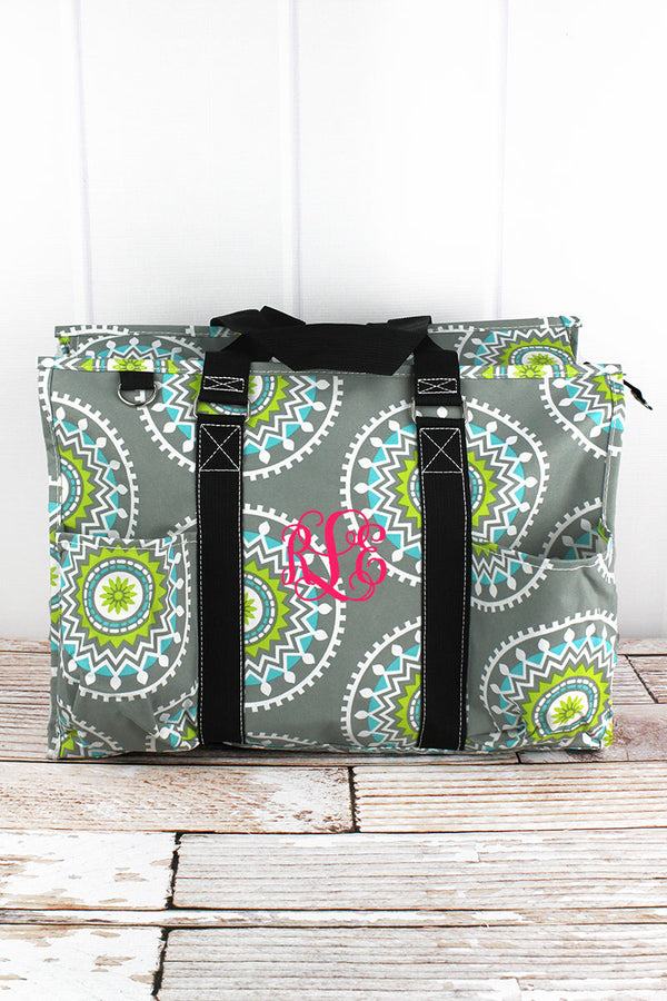 Mandala Garden with Black Trim Large Organizer Tote