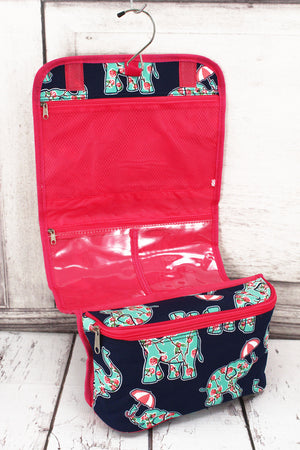 Prissy Pachyderm Roll Up Cosmetic Bag with Hot Pink Trim