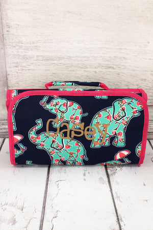 Prissy Pachyderm Roll Up Cosmetic Bag with Hot Pink Trim #EPN729-HPINK