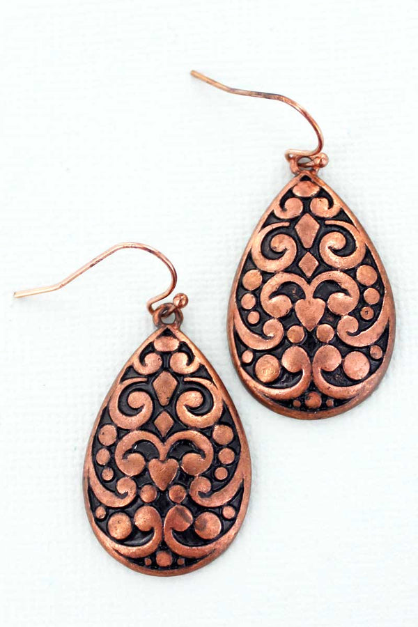 Naples Coppertone Teardrop Earrings