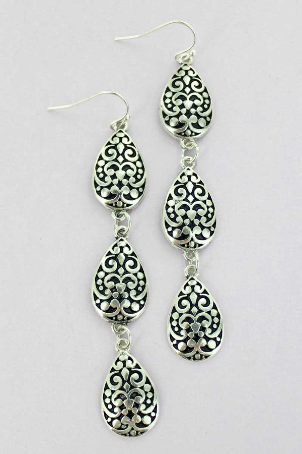 Alexandra Falls Silvertone Earrings