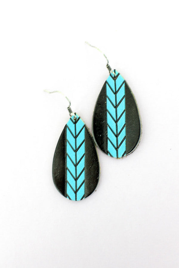 Turquoise Chevron Stripe Black Teardrop Earrings