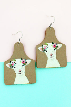 Floral Goat Faux Leather Cow Tag Earrings
