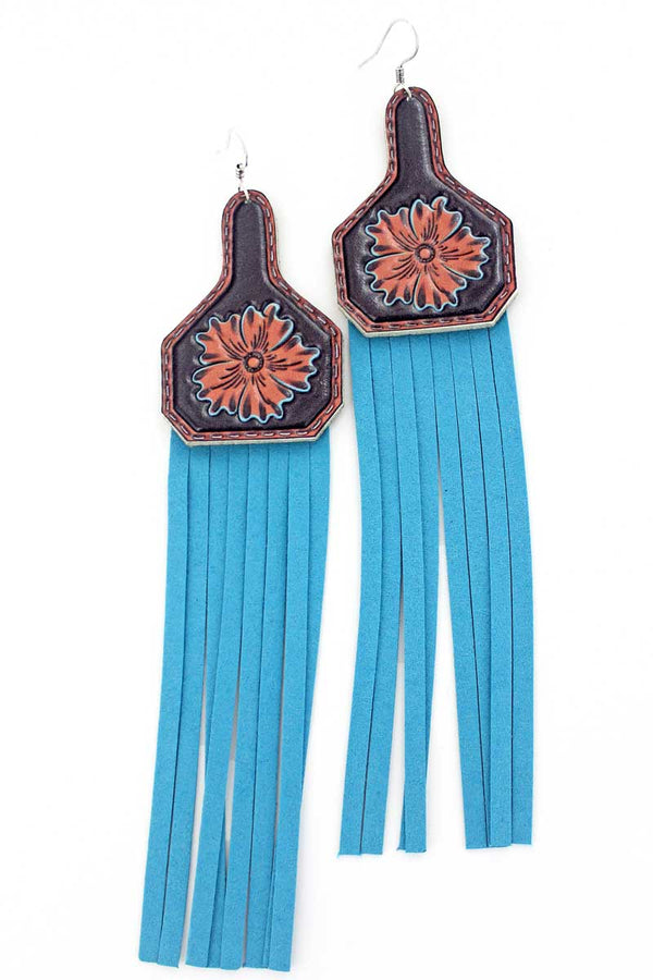 Flower Faux Leather Cow Tag Turquoise Fringe Earrings