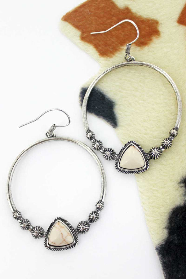 Salinas Natural Stone Hoop Earrings