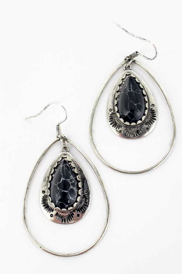Paso Robles Black Teardrop Earrings